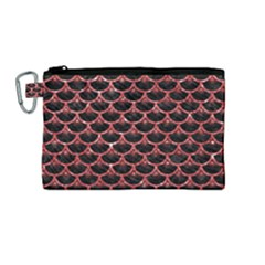 Scales3 Black Marble & Red Glitter (r) Canvas Cosmetic Bag (medium)