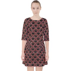 Scales2 Black Marble & Red Glitter (r) Pocket Dress