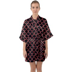 Scales1 Black Marble & Red Glitter (r) Quarter Sleeve Kimono Robe