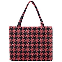 Houndstooth1 Black Marble & Red Glitter Mini Tote Bag