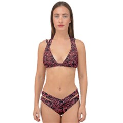 Damask2 Black Marble & Red Glitter (r) Double Strap Halter Bikini Set
