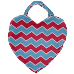 Zigzag Chevron Pattern Blue Red Giant Heart Shaped Tote