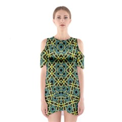 Arabesque Seamless Pattern Shoulder Cutout One Piece
