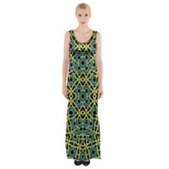 Arabesque Seamless Pattern Maxi Thigh Split Dress