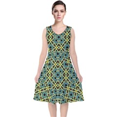 Arabesque Seamless Pattern V Neck Midi Sleeveless Dress