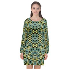 Arabesque Seamless Pattern Long Sleeve Chiffon Shift Dress