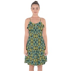 Arabesque Seamless Pattern Ruffle Detail Chiffon Dress