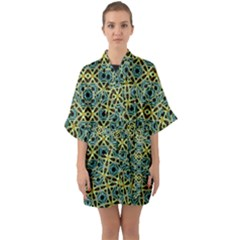 Arabesque Seamless Pattern Quarter Sleeve Kimono Robe