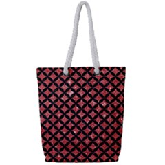Circles3 Black Marble & Red Glitter Full Print Rope Handle Tote (small)