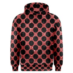 Circles2 Black Marble & Red Glitter Men s Overhead Hoodie