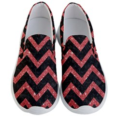 Chevron9 Black Marble & Red Glitter (r) Men s Lightweight Slip Ons
