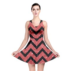 Chevron9 Black Marble & Red Glitter Reversible Skater Dress