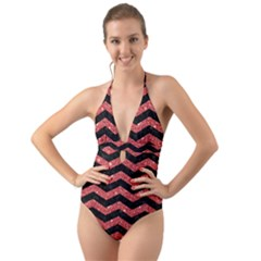 Chevron3 Black Marble & Red Glitter Halter Cut Out One Piece Swimsuit