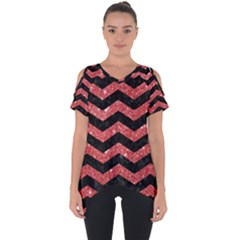 Chevron3 Black Marble & Red Glitter Cut Out Side Drop Tee