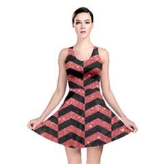 Chevron2 Black Marble & Red Glitter Reversible Skater Dress