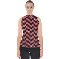 Chevron1 Black Marble & Red Glitter Shell Top