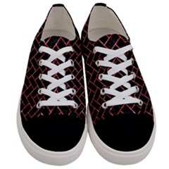 Brick2 Black Marble & Red Glitter (r) Women s Low Top Canvas Sneakers