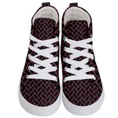 Brick2 Black Marble & Red Glitter (r) Kid s Hi Top Skate Sneakers