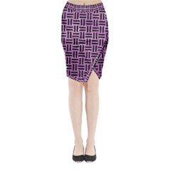 Woven1 Black Marble & Purple Glitter Midi Wrap Pencil Skirt