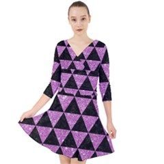 Triangle3 Black Marble & Purple Glitter Quarter Sleeve Front Wrap Dress