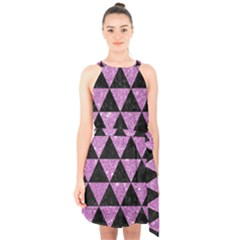 Triangle3 Black Marble & Purple Glitter Halter Collar Waist Tie Chiffon Dress