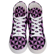 Triangle1 Black Marble & Purple Glitter Men s Hi Top Skate Sneakers
