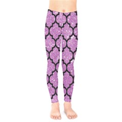 Tile1 Black Marble & Purple Glitter Kids  Legging
