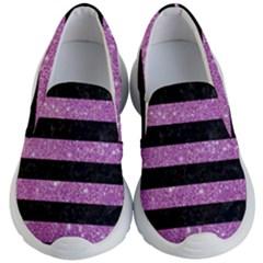 Stripes2black Marble & Purple Glitter Kid s Lightweight Slip Ons