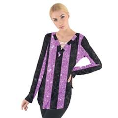 Stripes1 Black Marble & Purple Glitter Tie Up Tee