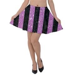 Stripes1 Black Marble & Purple Glitter Velvet Skater Skirt