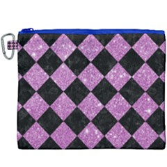 Square2 Black Marble & Purple Glitter Canvas Cosmetic Bag (xxxl)
