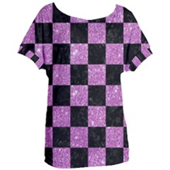 Square1 Black Marble & Purple Glitter Women s Oversized Tee