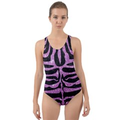 Skin2 Black Marble & Purple Glitter (r) Cut Out Back One Piece Swimsuit
