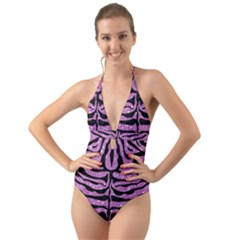 Skin2 Black Marble & Purple Glitter Halter Cut Out One Piece Swimsuit