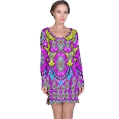 Fantasy Bloom In Spring Time Lively Colors Long Sleeve Nightdress