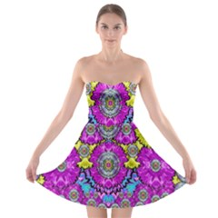 Fantasy Bloom In Spring Time Lively Colors Strapless Bra Top Dress