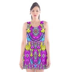 Fantasy Bloom In Spring Time Lively Colors Scoop Neck Skater Dress
