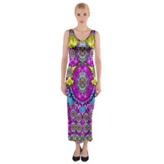Fantasy Bloom In Spring Time Lively Colors Fitted Maxi Dress