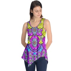 Fantasy Bloom In Spring Time Lively Colors Sleeveless Tunic
