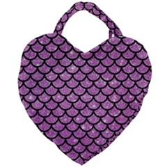 Scales1 Black Marble & Purple Glitter Giant Heart Shaped Tote