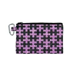 Puzzle1 Black Marble & Purple Glitter Canvas Cosmetic Bag (small)