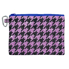 Houndstooth1 Black Marble & Purple Glitter Canvas Cosmetic Bag (xl)