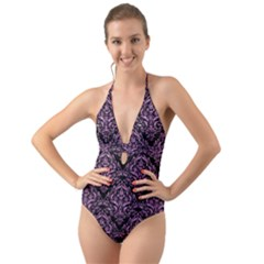 Damask1 Black Marble & Purple Glitter (r) Halter Cut Out One Piece Swimsuit