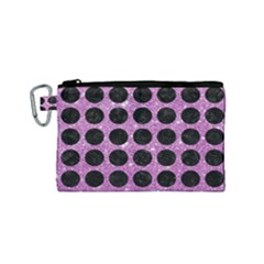Circles1 Black Marble & Purple Glitter Canvas Cosmetic Bag (small)