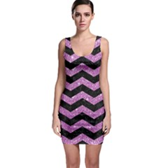 Chevron3 Black Marble & Purple Glitter Bodycon Dress