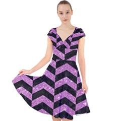 Chevron2 Black Marble & Purple Glitter Cap Sleeve Front Wrap Midi Dress