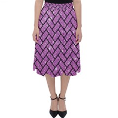Brick2 Black Marble & Purple Glitter Folding Skater Skirt
