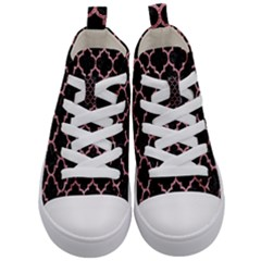 Tile1 Black Marble & Pink Glitter (r) Kid s Mid Top Canvas Sneakers