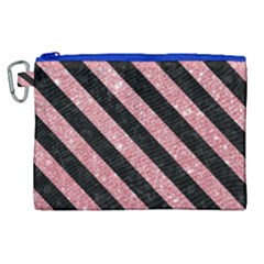 Stripes3 Black Marble & Pink Glitter Canvas Cosmetic Bag (xl)