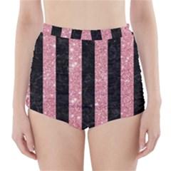 Stripes1 Black Marble & Pink Glitter High Waisted Bikini Bottoms